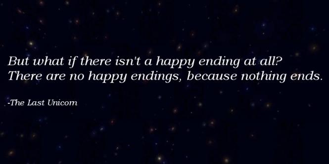 Happy endings, the last unicorn, quotes, schmendrick