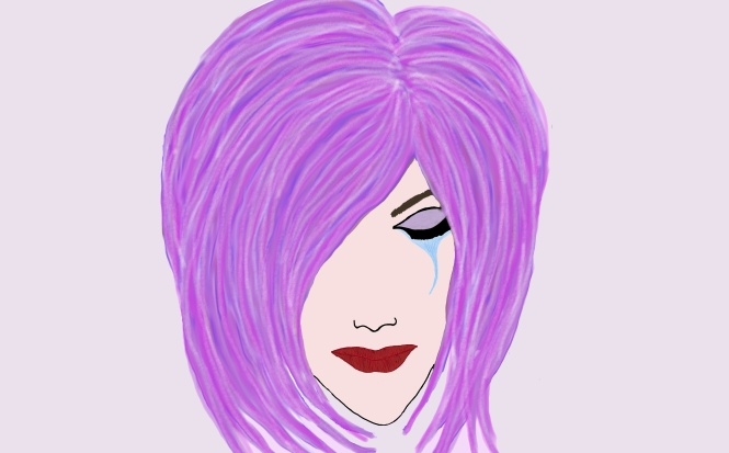 drawing, kidayna, crying, purple hair, rainbow, girl