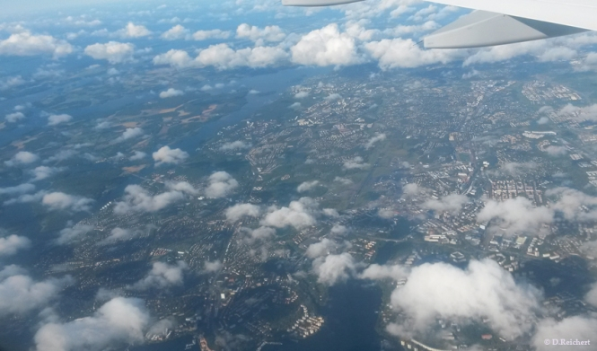 airplane, clouds, Stockholm, above